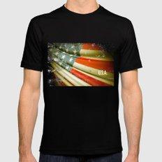 Flag of USA Black MEDIUM Mens Fitted Tee