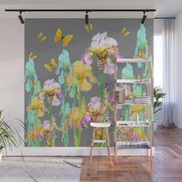 YELLOW BUTTERFLIES SPRING  IRIS GARDEN ART Wall Mural