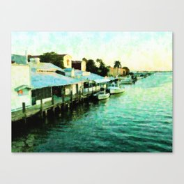 Boats Docked At Tin City Canvas Print