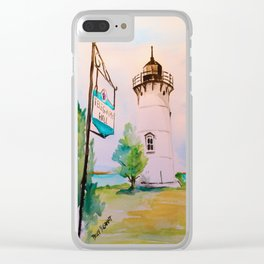 East Chop (Telegraph Hill) Lighthouse Martha's Vineyard Watercolor Clear iPhone Case