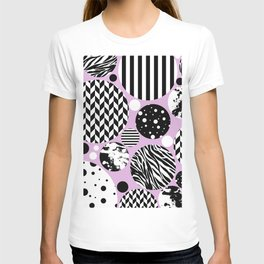 Eclectic Black And White Circles On Pastel Pink T-shirt