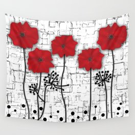 Applique. Poppies on a bright white background . Wall Tapestry