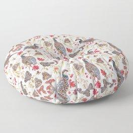 Foraging Partridges - Eggshell Floor Pillow