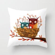 Owl Family Throw Pillow