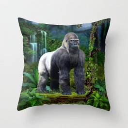 Silverback Gorilla Guardian of the Rainforest Throw Pillow