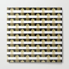 Elegant pineapple & stripes in gold black & white Metal Print