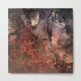Copper Glitter Stone and Ink Abstract Gem Glamour Marble Metal Print