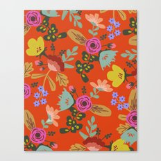 Funky Red Floral Canvas Print