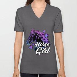 Horse Gifts for women / Equestrian, Arabian Horse Girl Rider Unisex V-Neck