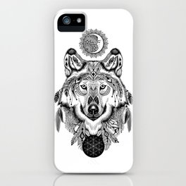 Bohemian Celestial Wolf iPhone Case