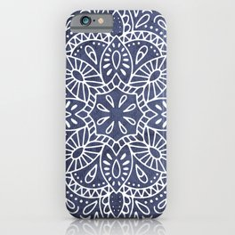 Mandala Vintage White on Ocean Fog Gray iPhone Case