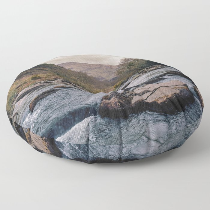 Blue River in Snowdonia Wales Floor Pillow