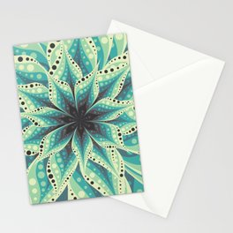 Green and yellow flower background Stationery Cards