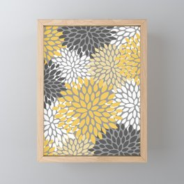 Modern Elegant Chic Floral Pattern, Soft Yellow, Gray, White Framed Mini Art Print