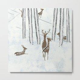 Deers in the snow Metal Print