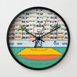 Ball is life - Baseball court Palmtrees Wall Clock
