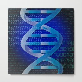 DNA Identity Blue Cool Science Graphic Metal Print