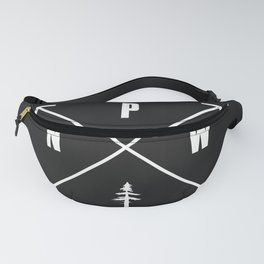 PNW Pacific Northwest Compass - White on Black Minimal Fanny Pack