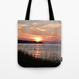Sunset on the shore of Lake Superior Tote Bag