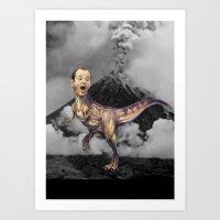 trex Art Prints featuring Bill Murray TRex by Kalynn Burke
