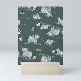 Floral Highland Cow in Teal Mini Art Print