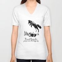 dog V-neck T-shirts featuring The quick brown fox jumps over the lazy dog by Robert Farkas