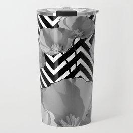CONTEMPORARY BLACK & WHITE PATTERN FLORAL Travel Mug