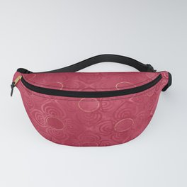 Abstract Art Deco Distressed Geometric Red Flowers with Golden Yellow Circles Fanny Pack