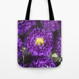 Bright Purple and Yellow Mum Flowers Tote Bag