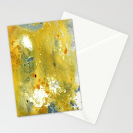 Abstract Acrylic Painting YELLOW Stationery Cards