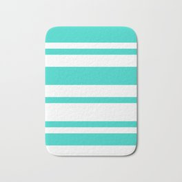 Mixed Horizontal Stripes - White and Turquoise Bath Mat