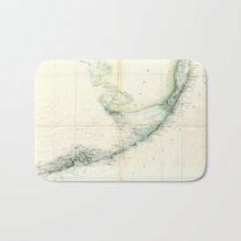 Vintage Map of The Florida Keys (1859) Bath Mat