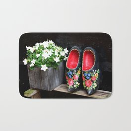 Clogs and te flowers Bath Mat
