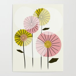 Abstract Summer Flowers Poster