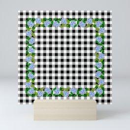Blue Flowers on Black Check - more colors Mini Art Print