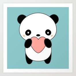 Kawaii Cute Panda Heart Art Print