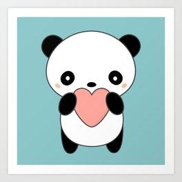 Kawaii Cute Panda Heart Art Print
