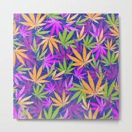 Colorful Marijuana Leaves Metal Print