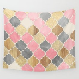 Silver Grey, Soft Pink, Wood & Gold Moroccan Pattern Wall Tapestry