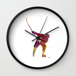 Hockey man player 02 in watercolor Wall Clock