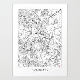 Canberra Map White Art Print