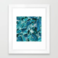 Turquoise Navy Blue Agate Black Gold Geometric Triangles Framed Art Print