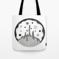 outer space Tote Bags featuring Outer space by Malgorzata Zabawa