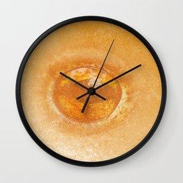Frog eye in orange pattern Wall Clock