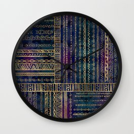 Tribal Ethnic pattern gold on painted texture Wall Clock