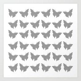 Gray Bold Mod Butterflies Art Print