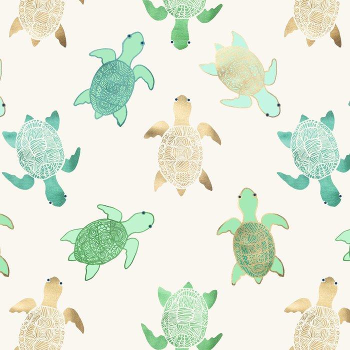 Gilded Jade & Mint Turtles Leggings