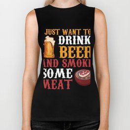 Perfect Gift For Beer And BBQ Lover. Biker Tank