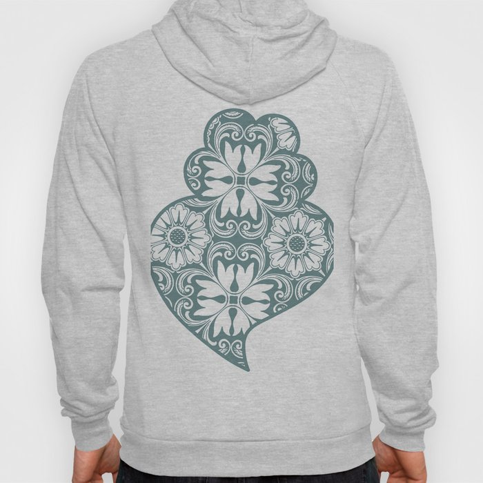 Traditionall portuguese Viana's heart and azulejo tiles background Hoody