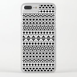 Aztec Essence Pattern II Black on White Clear iPhone Case